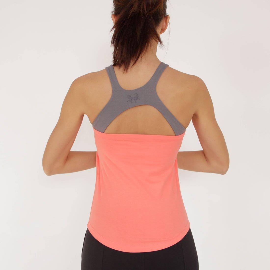Prancing Leopard Damen Yoga, Workout Top PLATHE Ärmelloses Shirt in Bio Baumwolle - Fitness Tank mit Integriertem BH