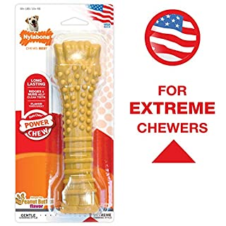 Nylabone Power Chew Flavored Durable Chew Toy for Dogs Peanut Butter Flavor X-Large/Souper - 50+ Lbs.