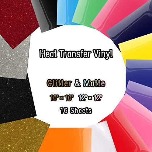 Heat Transfer Vinyl Sheets, Glitter HTV Vinyl Bundle Iron on for T Shirts, Fabric, Clothing - 12 x 12 - 16 Pcs Work with Cricut, Silhouette Cameo and Other Cutter Machines