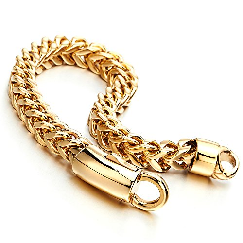 COOLSTEELANDBEYOND 8mm Mens Stainless Steel Gold Color Square Franco Chain Curb Chain Bracelet, Polished ()