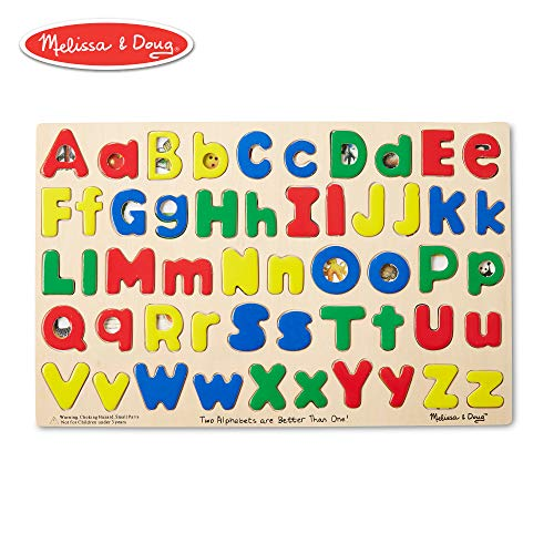 Melissa & Doug Upper & Lower Case Alphabet Letters Wooden Puzzle (52 - Capital Alphabet Letters
