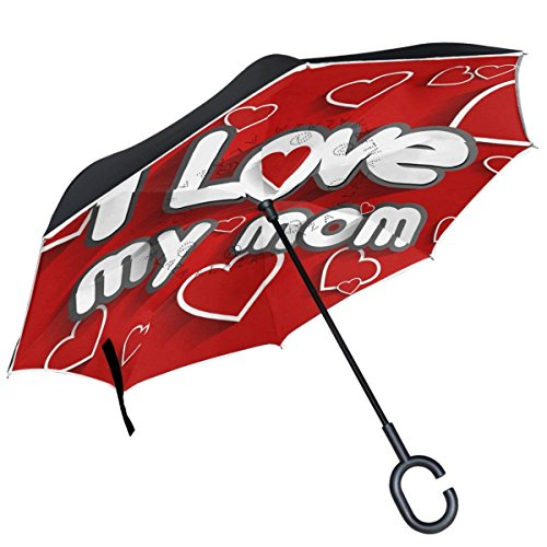 Love Mom Paper Hearts On Red Happy Mother'S Day Inverted Double Layer Windproof Reverse Umbrella