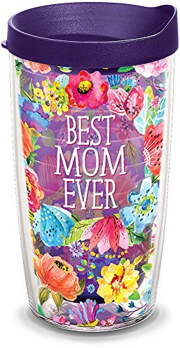 (Tervis 1308260 Best Mom Ever Floral Insulated Tumbler with Wrap and Royal Purple Lid, 16 oz - Tritan, Amethyst)