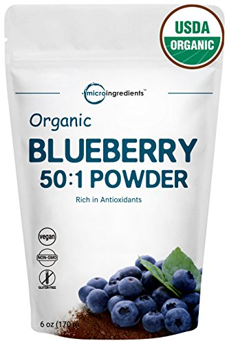 Sustainably Canada Grown, Organic Blueberry Extract 50:1 Concentrate Powder, 6 Ounce, Natural Flavor for Beverage, Smoothie, Baking and Cookies, Non-GMO and Vegan Friendly