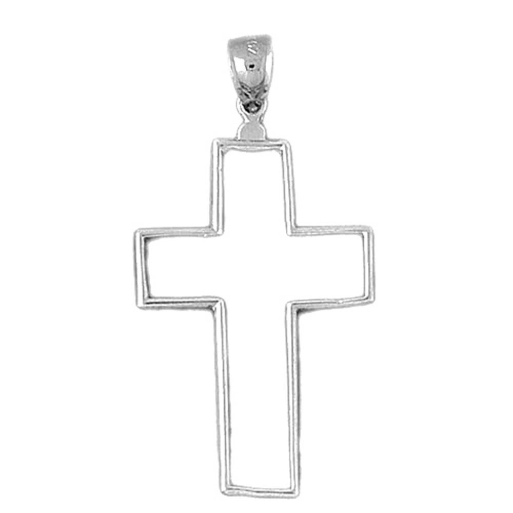Jewels Obsession Cross Necklace Rhodium-plated 925 Silver Latin Cross Pendant with 18 Necklace