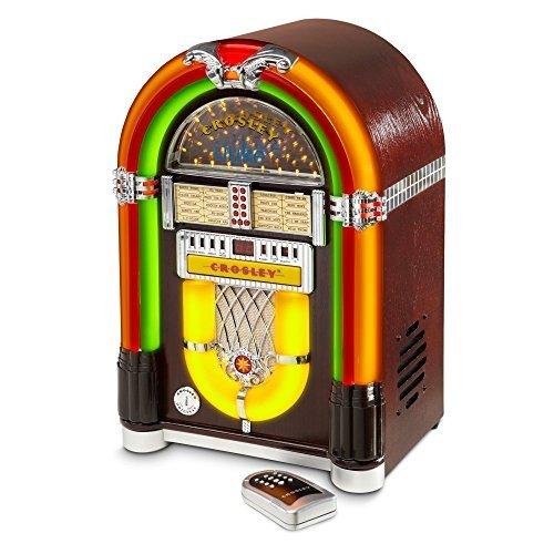 Ipod Jukebox - Crosley Full Size iJuke Bluetooth Jukebox with CD, AM/FM Radio and Color Changing LED Lights, Walnut