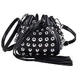 Search : YAOSEN Women Punk Rivet Bucket Bag PU Drawstring Shoulder Bag Crossbody Bag