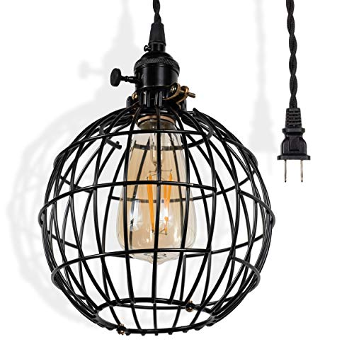 Rustic State Decorative Globe Metal Cage Lamp with 10 Feet Twisted Fabric Cord and Vintage Style LED Energy Saver Edison Light Bulb