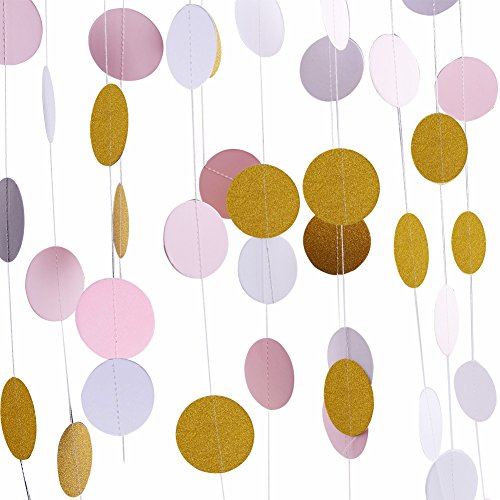 Threemart Glitter Party Decorations Garland,Gold White Pink Circle Paper Dots Hanging For Party Decor,4 Pack