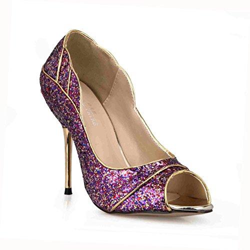 Best 4U? Women's Summer Sandals Glitter Sequin Comfortable Basic Pumps Peep toe 10.7CM High Heels Rubber Sole Shoes Purple Li3CuQzY