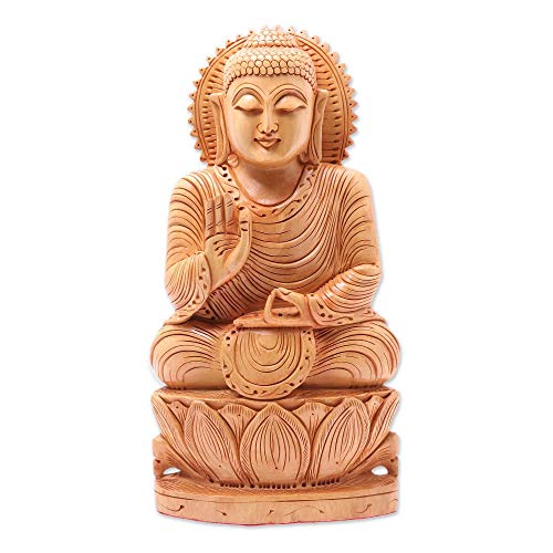 NOVICA Hand Carved Single Piece Natural Kadam Wood Buddha Sculpture from India 'Peace from Buddha'