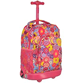 J World New York Sunny Rolling Backpack for School & Travel, 17 inch 2 PEFECT SIZE FOR SCHOOL: Dimension of 17 x 12 x 8.5 inches Rolling Backpack SUPER COMFORT Air Mesh Cushion padded shoulder straps with SLIP-IN system for convenience SAFETY AT NIGHT: REFLECTIVE TAPE for Increased Night Visibility