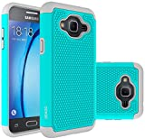 Galaxy J3 Case, Galaxy Amp Prime Case, Galaxy Express Prime Case - OEAGO Shock-Absorption Dual Layer Defender Protective Case Cover For Samsung Galaxy J3 (2016) / Amp Prime / Express Prime - Teal