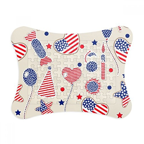 (USA Balloon Candy Heart Flag Star Festival Paper Card Puzzle Frame Jigsaw Game Home Decoration Gift )