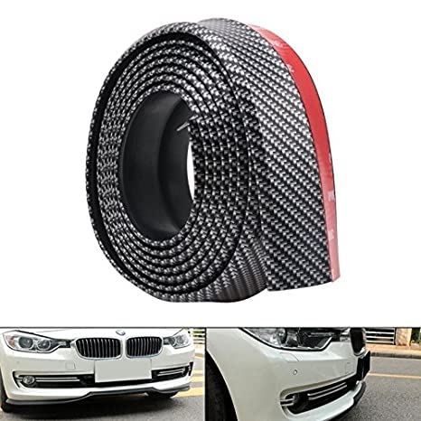 DDSKY Universal Front Bumper Spoiler Black 2.5m//8.2ft Car Stickers Carbon Fiber Front Bumper Rubber Styling Door Sill Protector for Car Truck SUV Accessories