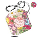Case for Tile Slim Finder with Carabiner Keychain, Leather Skin Cover for Tile Slim Bluetooth Tracker, Anti-Lost Design, Spring Flower, By Logity.