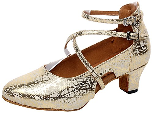 Heel Kitten Round Professional Cha Womens Tango CFP Gold shoes Dance Toe Comfortable Latin Cha Salsa Satin q4wRR08