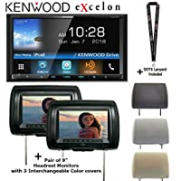 Kenwood eXcelon DDX795 6.95 WVGA DVD Receiver w/ Bluetooth & HD Radio and a Pair of Headrest Monitors and a SOTS Lanyard