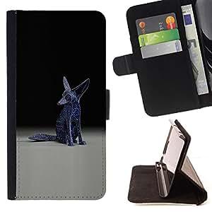 Ihec-Tech / Negro Flip PU Cuero Cover Case para Samsung Galaxy S4 IV I9500 - Fennec Fox Estatua Arte Moderno Universo Blue Stars