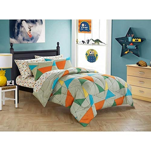 LV 5 Piece Kids Wild Animal Comforter Twin Set, Jungle Safari Rain Forest Animals Themed Bedding Abstract Geometric Triangle Line Pattern Grey Blue Yellow Green Orange, Polyester ()