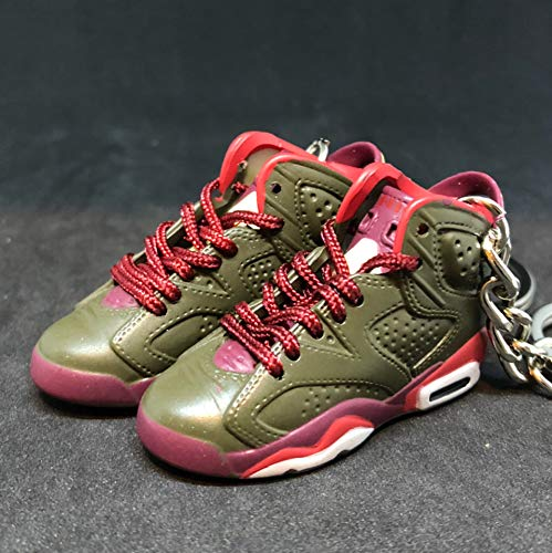 Pair Air jordan VI 6 Retro Cigar Champagne Championship Pack Sneakers Shoes 3D Keychain 1:6 Figure