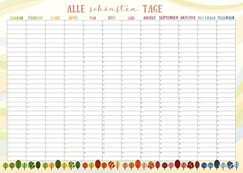 Immerwährender Kalender im DIN A3 Format - Ideal für Geburtstage und wichtige Termine - von Sophies Kartenwelt