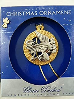 product image for Gloria Duchin Vintage Christmas Ornament Dove in Wreath Plus an Angel Pin Jewelry for Your Tree