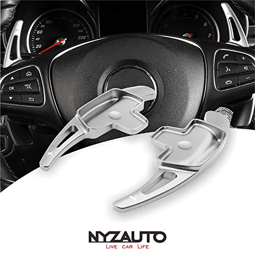 (NYZAUTO Aluminum-Alloy Steering Wheel Paddle Shifter Extension Fit For Mercedes Benz A B C CLA CLS E G GL GLA GLC GLE GLS Metris S SL SLC Class(Model B-Silver))