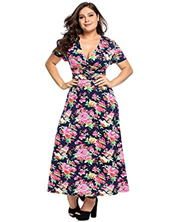 Involand IN'VOLAND Women Plus Size Floral Print Half Sleeve Scoop Neck Party Cocktail Midi Dress
