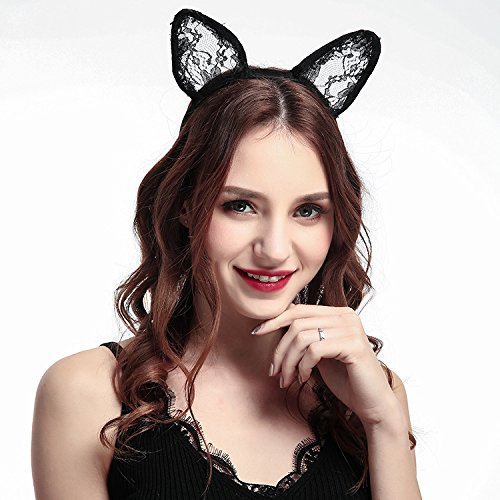 Kercisbeauty Lace Rabbit Ear Headband for Women and Teen Girls,Halloween Party Costume,Prom(Black)]()