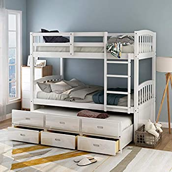 Amazon Com Twin Over Twin Bunk Bed For Kids Trundle Bed