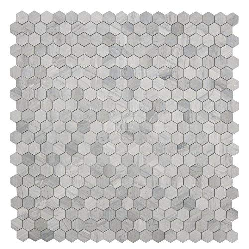 MAYKKE Cooper 10-Pack Mosaic Wall and Floor Tile 12'' x 12'' Mini Hexagonal Honeycomb Pattern Kitchen, Bathroom, or Laundry Room Backsplash, Flooring Fade Resistant Wooden Blue Marble, YOA1010105
