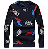 ONTBYB Men's Casual Print Round Neck Long Sleeve Hip Hop Pullover Sweatshirt 1 S