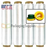 4 Rolls Advanced Pre-Stretch wrap 18'' x 1476' (12 Mic.) w/Hand saver Dispenser