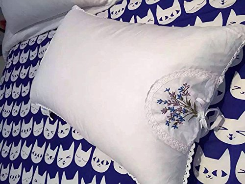 (CribMATE Pillow for Sleeping, Lavender Pillows, 60 Thread Satin, Embroidered Cotton Cover Case, Lace Trimmed Bed Pillows Feather Velvet Filled Pillows 1)