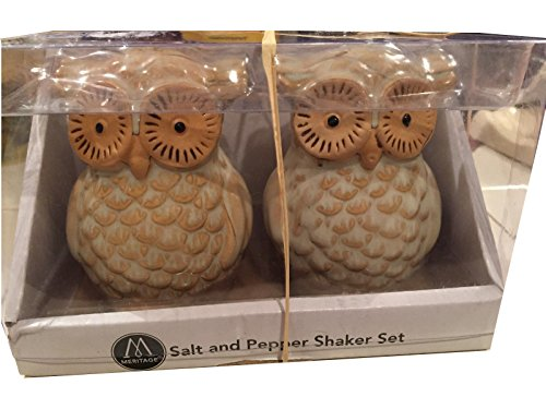 Meritage Sweet Hoot Salt And Pepper Set  Beige