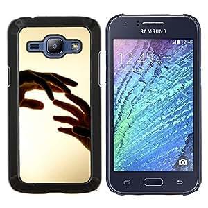 Manos Tocando- Metal de aluminio y de plástico duro Caja del teléfono - Negro - Samsung Galaxy J1 / J100