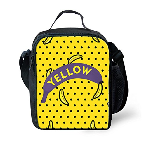 (Sannovo Banana Yellow Small Food Box Lunch Bag for Kid School Picnic Container)