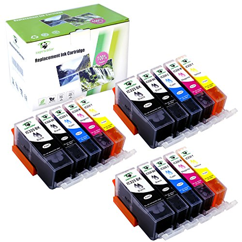 Supricolor 15 Pack PGI-225 CLI-226 Ink Cartridges High Yield Compatible with PIXMA iP4820 iP4920 iX6520 MG5120 MG5220 MG5320 MG6120 MG6220 MG8120 MG8220 MX712 MX882 MX892 (3 set)