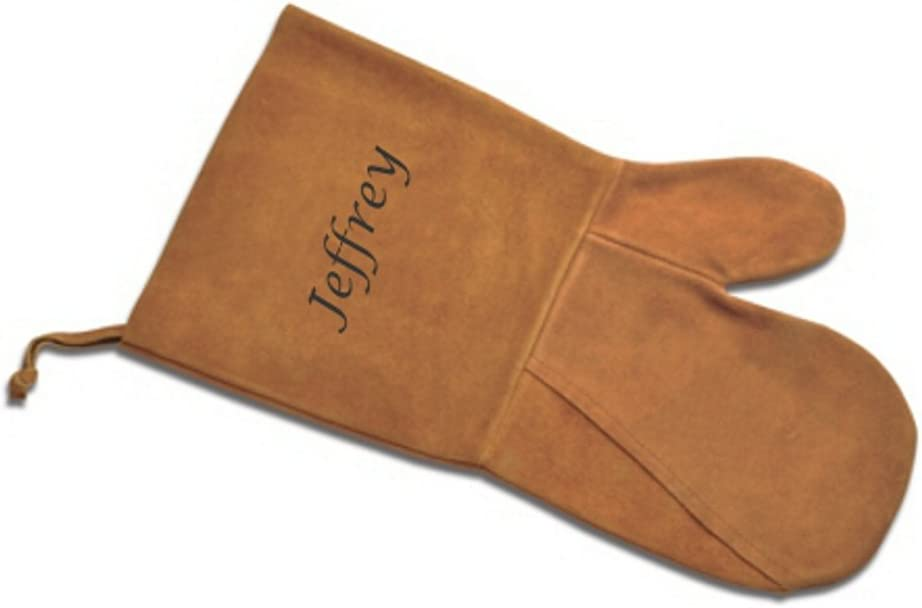 PERSONALIZED - Suede Oven & BBQ Mitt - Tobacco