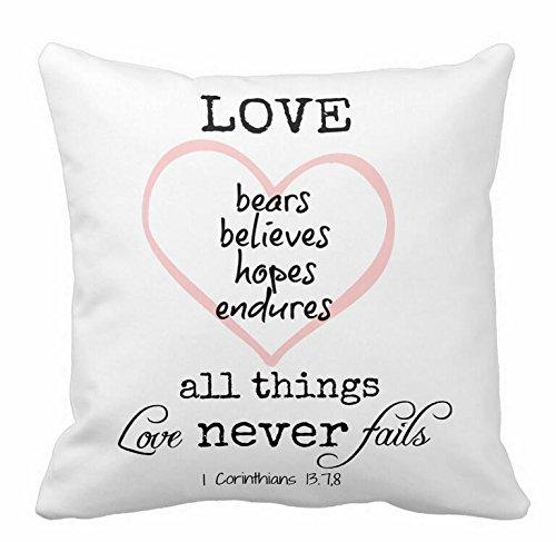 Love Never Fails Bible Verse Pillowcases 18×18