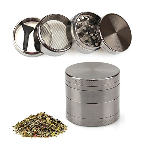 Nice Grinder for herbs. Has 4 sections with a pollen catcher. Very sleek design. Small, though. It should be a bit larger.