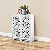 shoe rack front door - Jerry & Maggie - 3 tier 100% WPC Shoe Rack With Front Door Open / Shoe Storage Shelves Free Standing Flat Shoe Racks - Multi function shelf organizer - Carving Pattern Work | White
