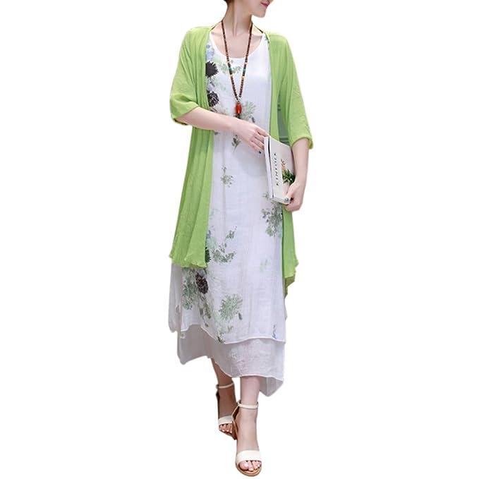 Amazon.com: LIANGSM vestido de dos piezas retro floral ...
