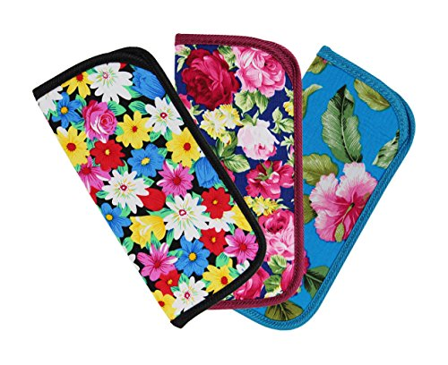 - 3 Pack Soft Slip In Eyeglass Case for Women Glasses, Reading Glasses, or Sunglasses - Fabric Floral Case