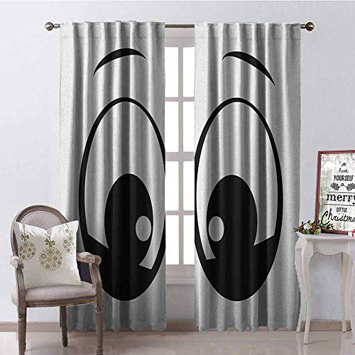 GloriaJohnson Eye Wear-Resistant Color Curtain Surprised Look a Cute Cartoon Character Amazed and Startled Childish Design for Kids Waterproof Fabric W100 x L84 Inch Black White
