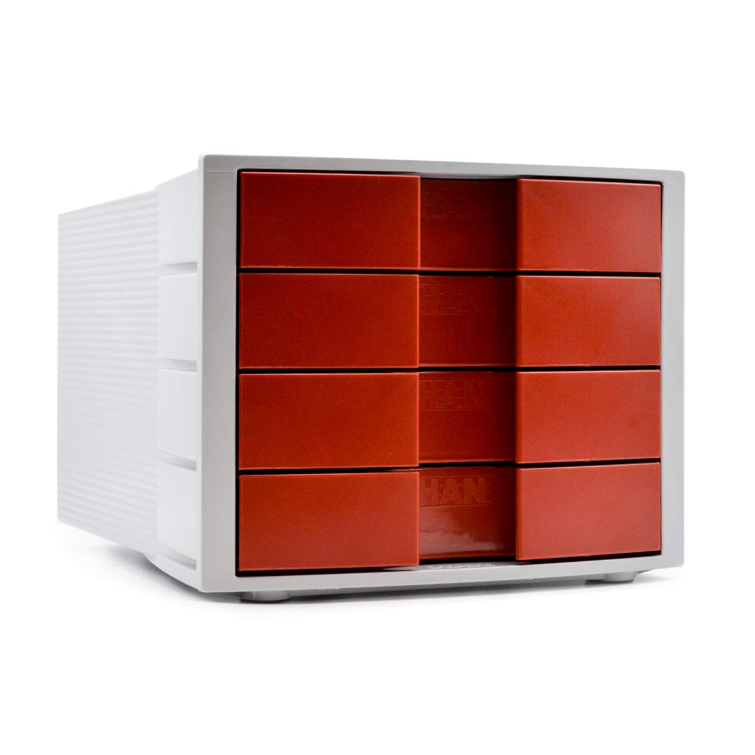 Han 1010-X IMPULS–Cassettiera formato DIN A4/C4, 4cassetti chiusi Light Grey/Red HIDO4-RD