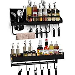 Kitchen Spice Rack Organizer for Wall , Aneder Multifunction Floating Shelves Wall Mounted Holder Heavy Duty, Adhesive/Drill… spice racks