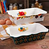 Timeless Floral Ruffle Top Baker Set by The Pioneer Woman, 2-Piece Baking Dish, 111265.02R