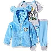 Disney Baby Boys' Mickey Mouse 3 Piece Hoodie, Bodysuit Or T-Shirt, Pant Set, Little Boy Blue, 6-9 Months